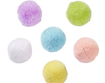 PomPom of wool in pastel shades-6 pieces in different colors