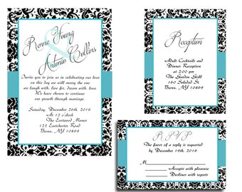 25 Blue Black Damask Wedding invitations RSVP and Reception cards