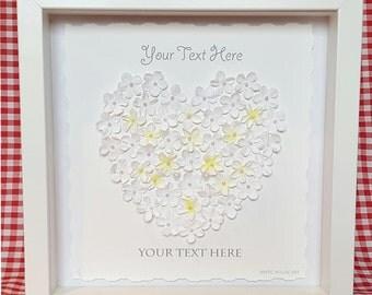 White Daisy Heart.  Beautiful handmade paper flower 3D artwork framed in white