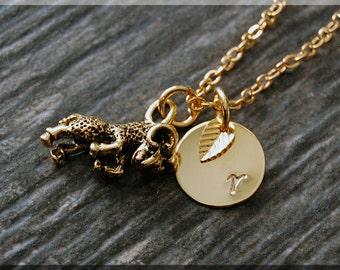 Gold Aries Zodiac Charm Necklace, Initial Charm Necklace, Personalized, Zodiac Horoscope Sign, Aries Pendant, Zodiac Aries Jewelry