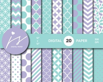 Purple and Turquoise Digital Scrapbook Paper, Printable Paper, Seamless Paper Pattern Bundle Sale, Paper Pack Kit, Commercial Use, MI-484