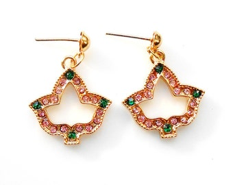 Alpha Kappa Alpha Sorority Gold Ivy Crystal Earrings