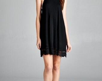 Black Turtleneck Sleeveless Dress With Lace Detailing