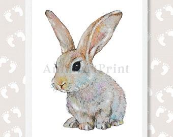 Bunny Print Baby Animal Print Bunny Nursery Art Bunny Painting Bunny Watercolor Rabbit Art Rabbit Print  Woodland Animal Download Printable