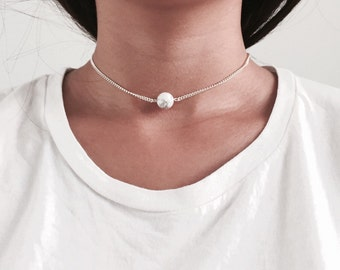 Choker necklace with marble ball, simple chain choker, silver chain choker