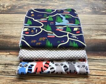 baby boy burp cloth - woodland nursery -chenille burp cloths - camping outdoors burp cloths