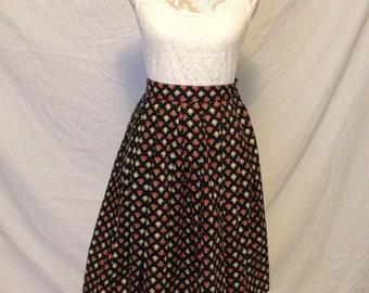 1950's Novelty Print Pleated Circle Skirt - 1950's skirt - 50's circle skirt