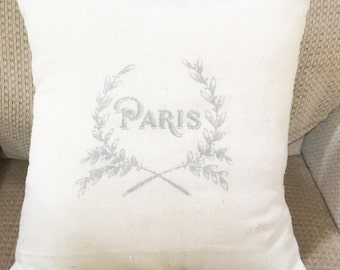 Paris - French Grain Sack Pillow Cover- cotton canvas