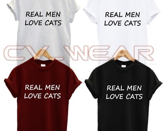 real men love cats t shirt fashion cats cat lover animal lover fashion swag dope tumblr quote unisex