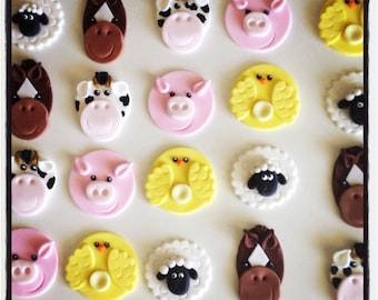 24 x Farm Animal  Fondant cupcake Toppers - Horse, Chicken, Cow, Pig