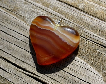 70's, Agate, Orange, Red, Heart, Pendant, Necklace, Gemstone, Jewelry, Stone, Banded, Heart Shaped, Healing, Polished, Carved, Vintage
