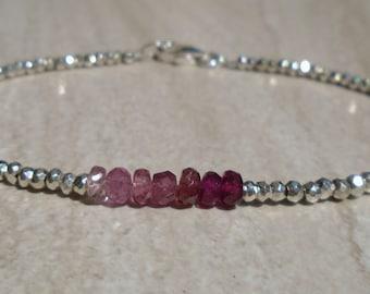 Tourmaline Bracelet, Pyrite Bracelet, Ombre Bracelet, Shaded Tourmaline, Pink Tourmaline, Gemstone Bracelet, Pink Bracelet, Dainty Bracelet