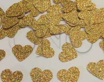 Gold iridescent heart confetti, Gold party decorations, gold wedfing table decor, Gold Anniversary, sparkly confetti, heart confetti, paper