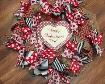 Valentine Wreath, Rustic Valentine Wreath, Burlap Valentine Wreath, Modern Valentine Wreath, Valentine's Decor, Valentine Door Decor,