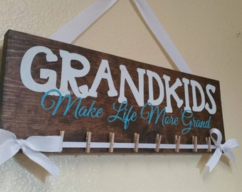 Grandkids make life more grand, grandkids wood sign, wood sign, handpainted sign, sign with hanging pictures, gifts for grandma,grandma sign