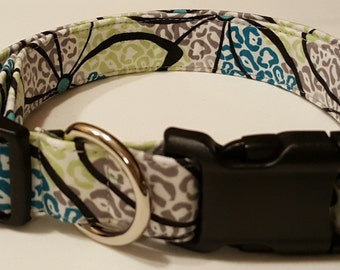 dog collar, gray/teal/green animal print, animal print dog collar, animal print collar