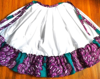 White Dance Skirt with Waxprint Accents: custom made, gathered skirt (various colors/patterns available)