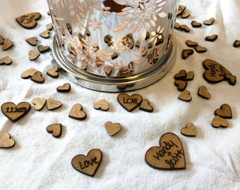 Rustic Wedding/ Engraved Personalized Heart Confetti/Table Confetti
