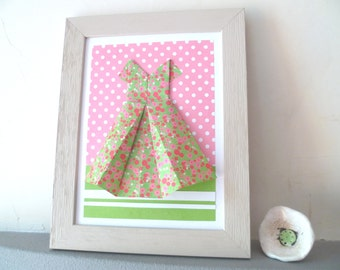 Collage origami dress, spring origami paper, Liberty Green and Pink