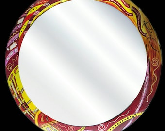 "30""diam Custom made, hand painted mirror"
