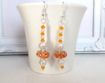 Orange Glass Bead Earrings Dangle Earrings Orange Glass Bead Earrings Everyday Jewelry Boho Chic Jewelry Gift for Women
