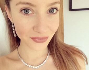 Wedding Necklace, Cubic Zirconia Necklace, CZ Necklace, Bridal Necklace, Bridal Jewelry, Cubic Zirconia Wedding Jewelry, Wedding Set, CZ Set