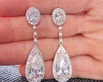 Gatsby Earrings, Crystal Earrings, Wedding Earrings, Bridesmaid Earrings, Wedding Jewelry, Bridal Jewelry, CZ Earrings, Elegant Earrings