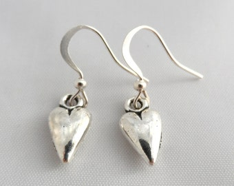 Silver Heart Earrings - Heart Earrings - Dangle Earrings - Valentines Gift