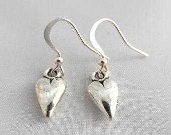 Silver Heart Earrings - Heart Earrings - Dangle Earrings - Valentines Gift