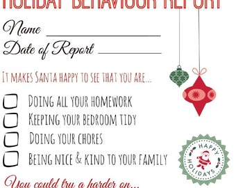 Elf Behavior Report // Elf Naughty or Nice Report // Instant Download // Printable