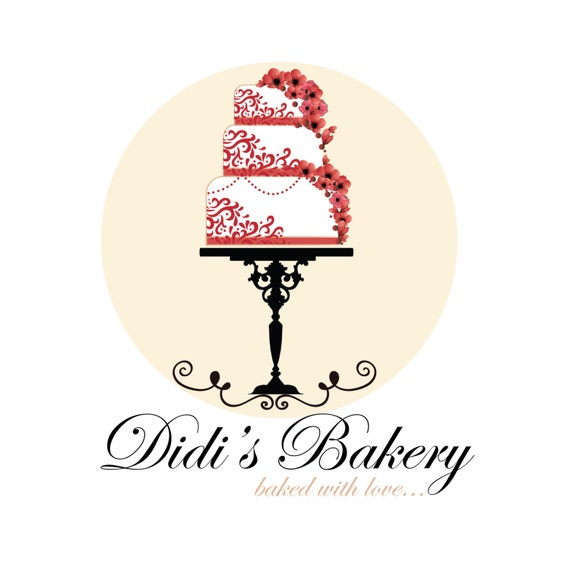 Cake Designs Logo : Custom logo design premade bakery logo red flowers cake logo
