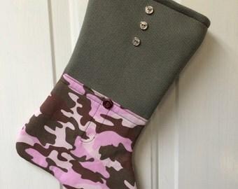 Girls' Pink Camo Christmas Stocking
