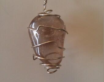 Smoky Quartz silver wire wrapped pendant.