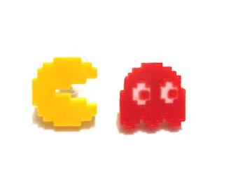 Pacman Ms. Pacman Ghost Earrings 3D Printed