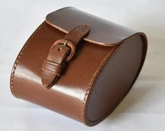 Vintage Travelling Brush Set 2 Ebony Brushes with Real Bristles Leather Case