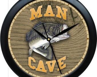 "Man Cave Bass Fish Personalized 10"" Wall Clock"