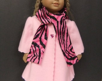 Doll Clothes fit American Girl dolls; pink coat, hat & scarf