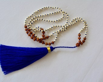 Cobalt blue tassle necklace