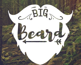 Vinyl Decal - Man Decal - Big Beard Decal - Beard Decal - Car Decal - Laptop Stickers - Bumpersticker - Mancave Decal - Gift for men - Truck