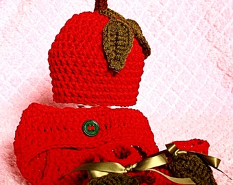 Apple Beanie and Diaper Cover Set