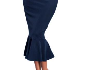 Dark blue skirt | Etsy