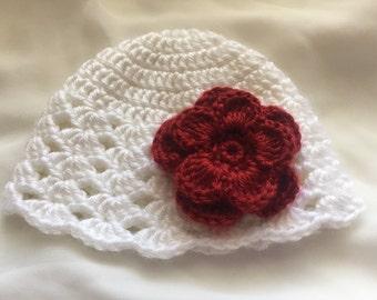 Baby Hat, flower, Crochet, Winter