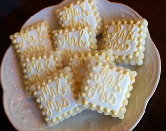 Mr & Mrs - Wedding Shower, Bridal Shower Cookies, Engagement, Wedding Cookies - 1 Dozen