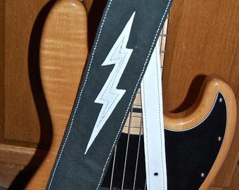 "White Lightning 3"" Leather Guitar Strap Gift For Musicians"