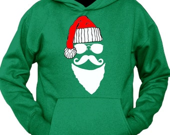 Santa Clause Mustache Face Hoodie