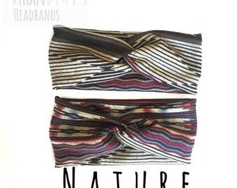 Aztec Black and Tan striped headband, southwest headband, geometric headband, pattern headband, toddler aztec headband, spring headband