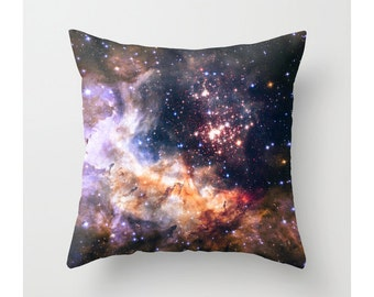 Nebula Pillow Cover, Outer Space Galaxy Photo Pillow Cover, Cosmic NASA, Celestial Fireworks