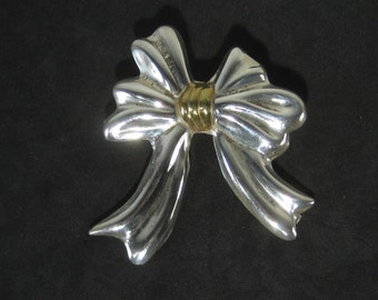 Vintage Sterling Silver and Gold Tone Bow Tie Brooch