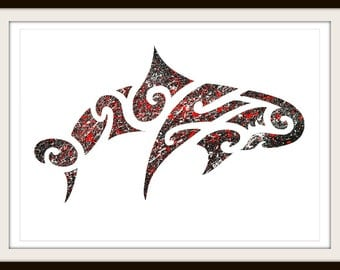 Maori Inspired Black Red White Dolphin Print - Free Shipping - Original home deco