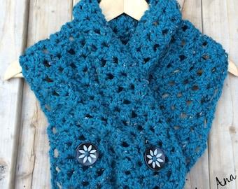 Crochet Button Cowl-hanmade-scarf-blue-buttons-yarn-crochet-cowl